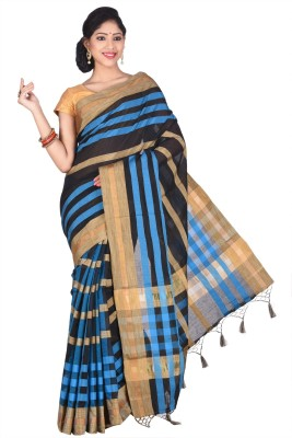 Creation Striped Shantipur Handloom Silk Cotton Blend Sari