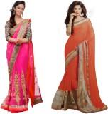 MA Solid Fashion Georgette, Net Sari