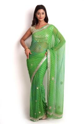 Kasturi-B Swadeshi Karigari Striped Leheria Georgette Sari