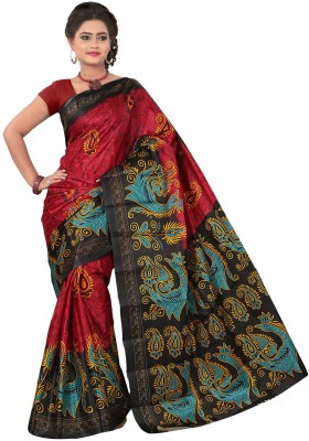 Moon Sarees Animal Print Ikkat Handloom Art Silk Sari