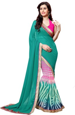 KL COLLECTION Plain, Striped Fashion Georgette Sari