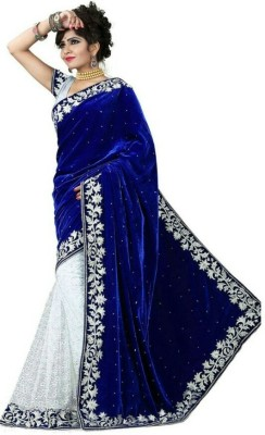 Meera Saree Embellished Fashion Velvet, Net Sari