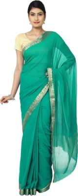 Aks Worldshop Solid Daily Wear Chiffon Sari