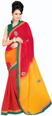 Bridal Embriodered Bollywood Synthetic Georgette Sari