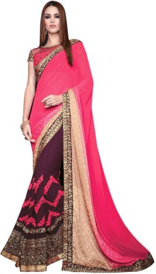 Manish Creation Embellished, Embriodered, Self Design Fashion Georgette, Jacquard Sari