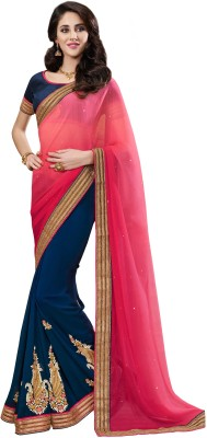 EthnicBasket Embriodered Fashion Chiffon Sari