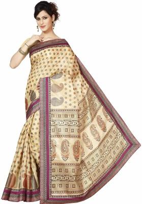 Rani Saahiba Applique Bhagalpuri Art Silk Sari(Magenta)