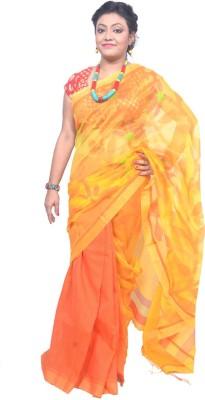 Tanjinas Woven, Floral Print Phulia Handloom Muslin Sari