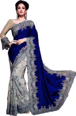 Mayka Designer Self Design Fashion Velvet, Net Sari