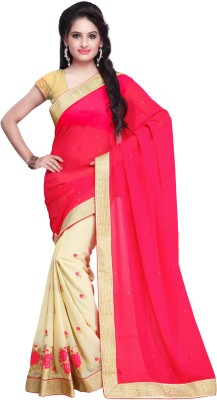 Yash Fashion Of Embrodery Self Design, Embriodered Bollywood Georgette Sari