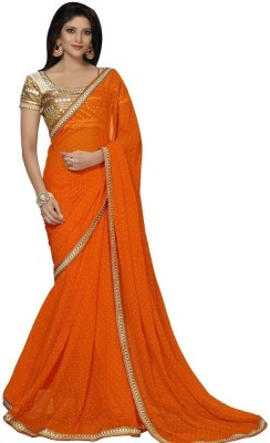 Lime Fashion Embriodered Fashion Handloom Georgette Sari