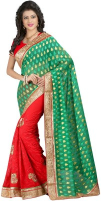Susmi Embriodered Chanderi Handloom Jacquard, Georgette Sari