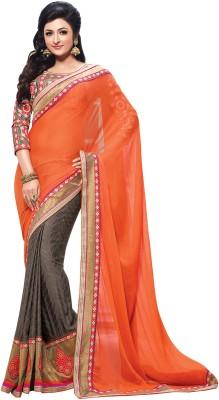 Kashish Lifestyle Self Design, Solid Fashion Chiffon, Jacquard Sari