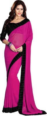 Sourbh Sarees Solid Fashion Georgette Saree(Pink) at flipkart