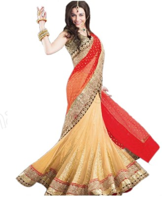 mGm Creation Embriodered Bollywood Net, Lace Sari