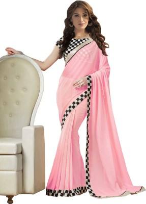 StyleFunia Solid Fashion Georgette Sari