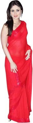 FabPandora Plain Fashion Georgette Sari