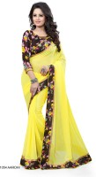 Blue fashion Floral Print Fashion Georgette Sari(Multicolor)