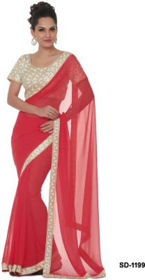 Silons Designer Embriodered Bollywood Synthetic Georgette Sari