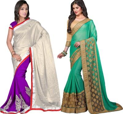 MAA CREATION Solid Fashion Chiffon Sari