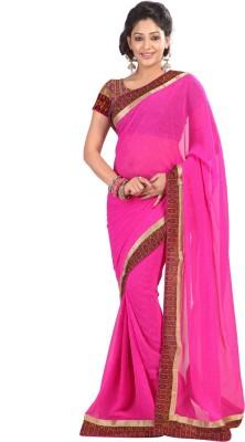 Silkbazar Embroidered Fashion Chiffon Saree(Pink) at flipkart