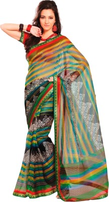 Roop Kashish Printed, Striped Kota Doria Net Sari