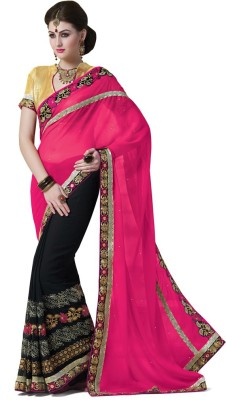 Saara Embroidered Fashion Georgette Saree(Pink, Black) at flipkart