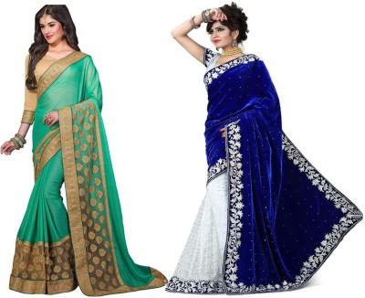 Red Carpet Embriodered Bollywood Velvet, Brasso, Chiffon Sari
