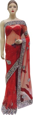 Veena Saree Embriodered Fashion Net Sari