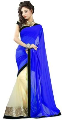 Madhav Fashion Solid Bollywood Net, Georgette Sari