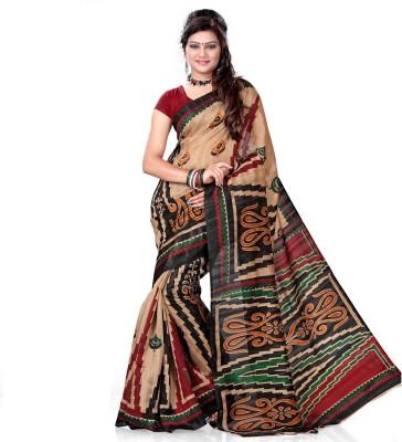 Lime Printed Bhagalpuri Handloom Art Silk Sari