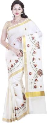 BrindavanSilks Embriodered Fashion Cotton, Polycotton Sari