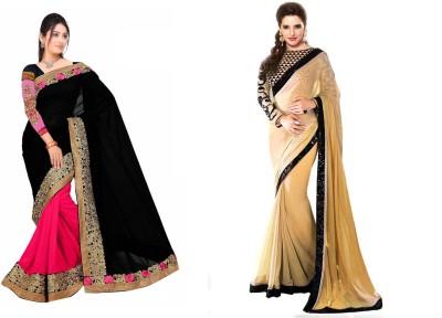 Krishna Creation Embriodered, Plain Bollywood Handloom Chiffon Sari