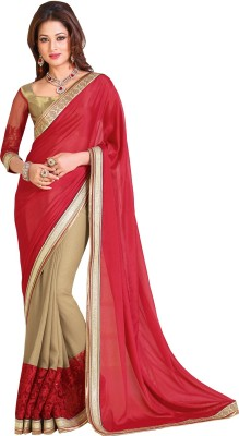 Queenbee Embriodered, Self Design Fashion Chiffon, Georgette Sari