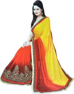 Valacreation Embriodered Fashion Georgette Sari