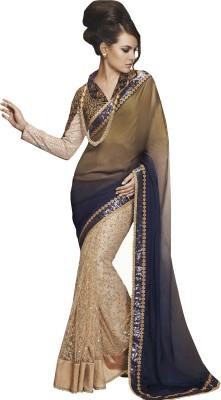 Go Traditional Embriodered Lehenga Saree Sequined Fabric, Satin Sari