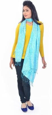 Indiangiftemporium Printed Wool, Viscose, 20% Kashmiri Wool, 30% Wool ruffle yarn and 50% Kashmiri Silk Women's Stole