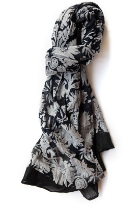 Niv Collection Floral Print LINEN Girl's Scarf