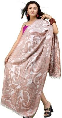 Indiangiftemporium Printed Wool, 70% Kashmiri wool, 30% Wool ruffle yarn Women's Stole