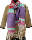 Baba Handicrafts Striped Cotton-Silk Wom...