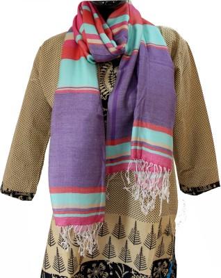 Baba Handicrafts Striped Cotton-Silk Women's Stole