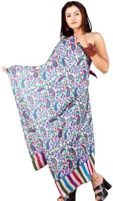 Indiangiftemporium Printed Wool, Viscose, 45% Kashmiri Wool, 55% Wool ruffle yarn Women's Stole