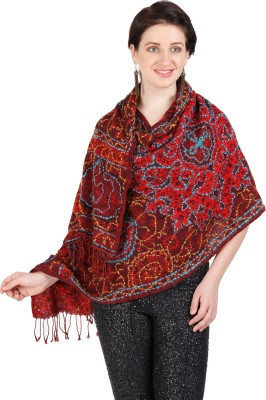 Shyam & Co. Of North Pvt. Ltd. Embroidered 60% Wool 40% Cotton Women's Scarf