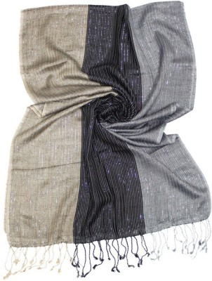 Okko Self Design 100% Viscose, Silver Lurex Women's Scarf