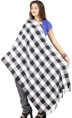Indiangiftemporium Floral Print Wool, Viscose, 20% Kashmiri wool, 50% Cashmilon and 30% Wool ruffle yarn Women's Stole