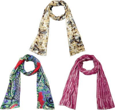 URBAN-TRENDZ Printed Polyester - Printed Scarves (Set of 3pcs) Women's Scarf