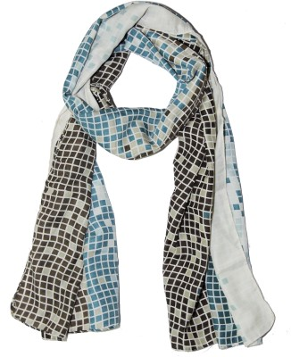 Weavers Villa Printed Trendy Scarves and Stoles Light Weight Premium Poly Cotton Summer Geometric Design Women's Scarf