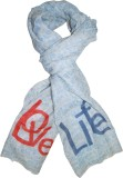 Pale Blue Dot Printed Wool Women's Scarf