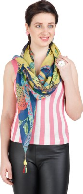 Shyam & Co. Of North Pvt. Ltd. Floral Print 80% Cotton 20% Silk Women's Scarf