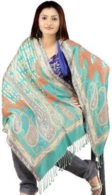 Indiangiftemporium Printed Wool, Viscose, 25% Kashmiri wool, 25% Viscose, 50% Wool ruffle yarn Women's Stole